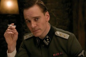 Irony Alert! Fassbender stars as an offensively stereotyped British agent impersonating a stereotypical Nazi in Inglorious Basterds.