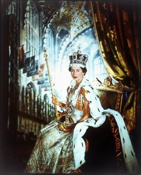 Cecil Beaton's coronation portrait of H. M. Queen Elizabeth II - now all the jewels, the crown, orb, and sceptre are all on view at the Tower of London this summer.