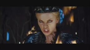 Charlize Theron stars as the evil queen, and looks set to steal the film.