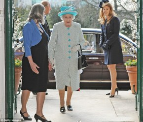 The Queen arrives with her granddaughter, Princess Beatrice.