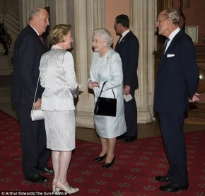 H. M. Queen Elizabeth II and Prince Philip welcome King Harald V and Queen Sonja of Norway.