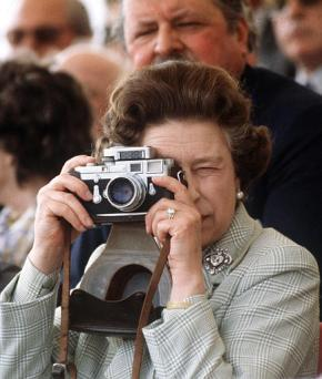 H. M. Queen Elizabeth II wearing the Cullinan V brooch to the Windsor Horse Show in 1982.