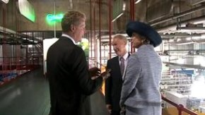 Princess Benedikte being showed round the Carlsberg brewery.