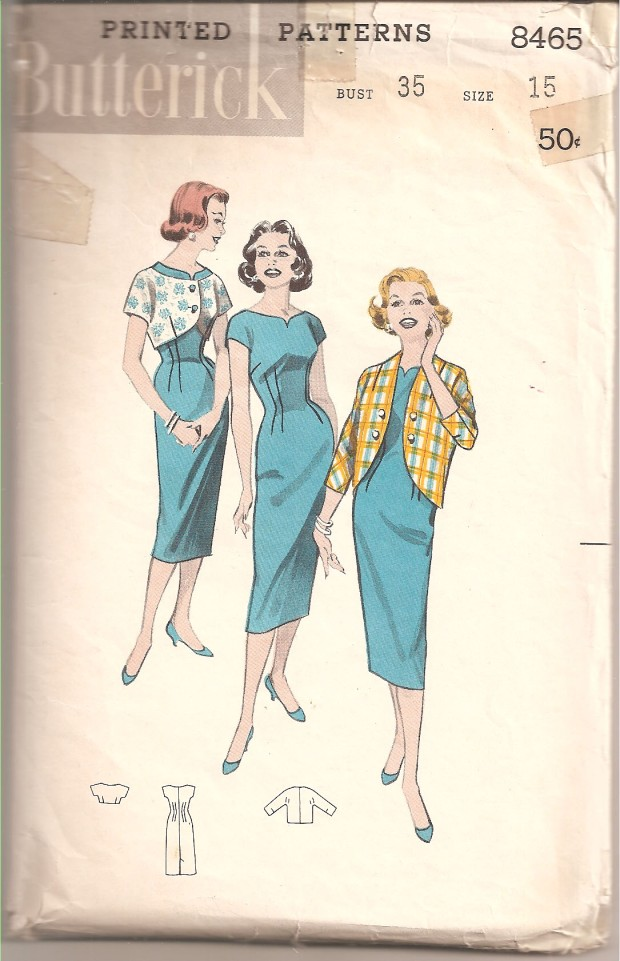"Figure-following sheath with notched neckline. To go with it ... two smart new jackets. One very brief ... with short sleeves and low scooped-neckline that allows dress to show above it. Longer version ... a ""penguin jacket"", is a cut-away, has three-quarter sleeves. (Butterick, copyright 1958)"