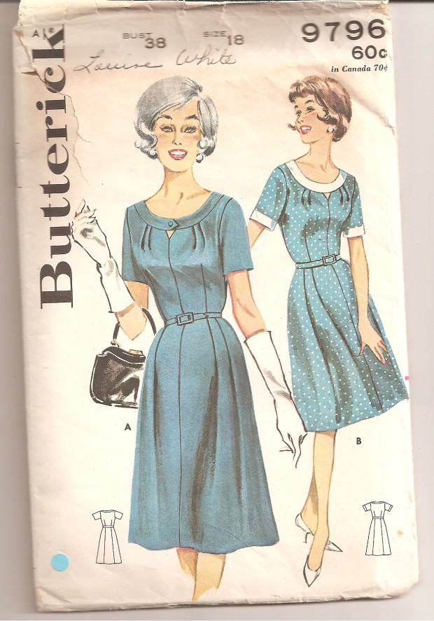 Misses' and Women's Shallow Neck Dress. (A) Short sleeved dress with buttoned self banded shallow neck, triangular cut out detail, flared skirt with unpressed front pleats, self belt. (B) Contrast banded cuffs and neckline (not buttoned). (Butterick, copyright 1960).