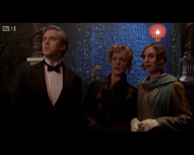 Three faces of Downton Abbey do not look at home in the speakeasy. #Awkward