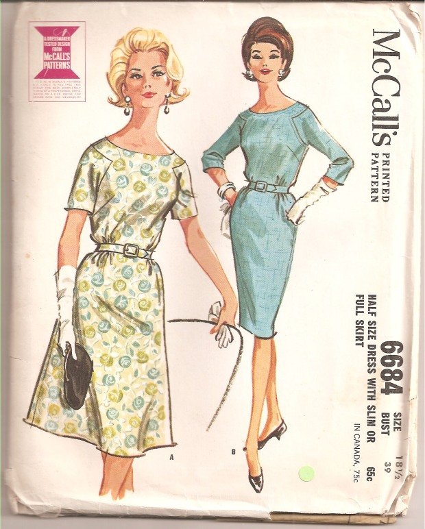 Dress with lightly bloused bodice and three-gore and flared skirt or three-gore straight skirt. Short or three-quarter length sleeves are set into angled armholes. Neck and armholes may be outlined with decorative stitching. Bodice is gathered in waistline seam at back and side front, either skirt is gathered at side front. Slim skirt has back pleat, may be lined. (Copyright -  McCall's, 1962)
