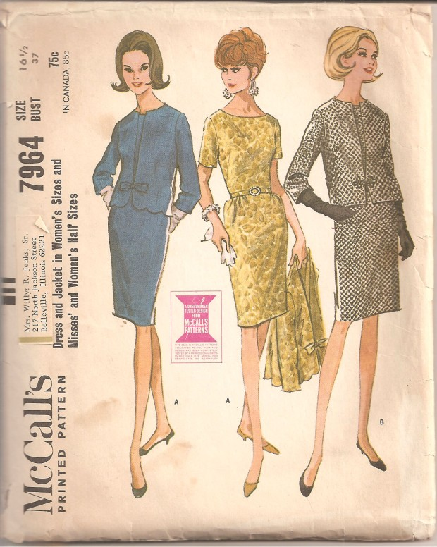 Slim dress with short set-in sleeves and matching jacket in choice of two versions, each with three-quarter length set-in sleeves. Dress and jacket have French darts at front. Dress skirt is gathered at side front, has back darts and pleat. Dress has center back zipper and may be underlined. Neck, fronts and lower edge of lined jacket are interfaced. Fronts of jacket with scalloped lower edge are hooked under applied bias bow. Jacket with straight lower edge has purchased frog instead of bow. (McCall's copyright 1965)