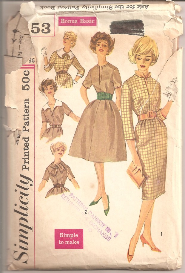 "Misses' Basic Dress With Two Skirts, Detachable Collars and Sleeve Trim: ""Simple to Make"" dress has round neckline with front opening and set in sleeves. Belt can be self fabric. Each view has detachable accessories. (Simplicity, copyright 1959)"
