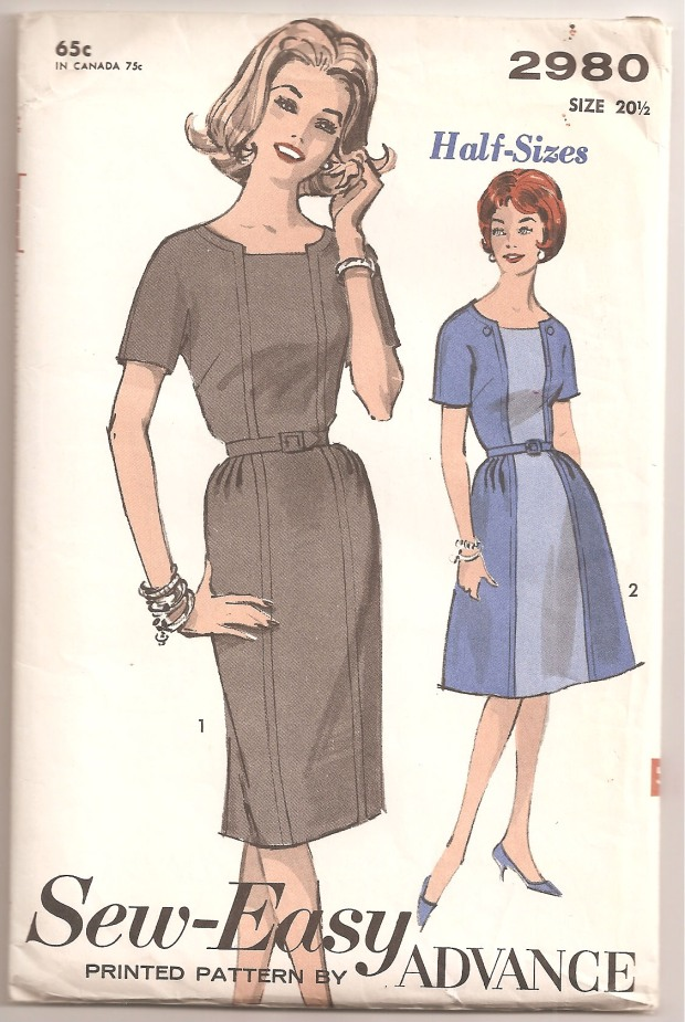 Dress has short, gusseted kimono sleeves, dart fitted bodice has low round neckline with lowered inset panel and topstitch trim. View 1 sheath skirt with front inset panel is dart fitted in back with release tucks at front sides. View 2 with contrast insets, button trim and slightly flared skirt. Back zipper closing and self fabric belt. (Copyright - Advance, 1963)