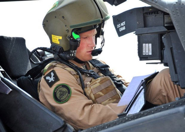 Prince Harry co-pilots an Apache helicopter