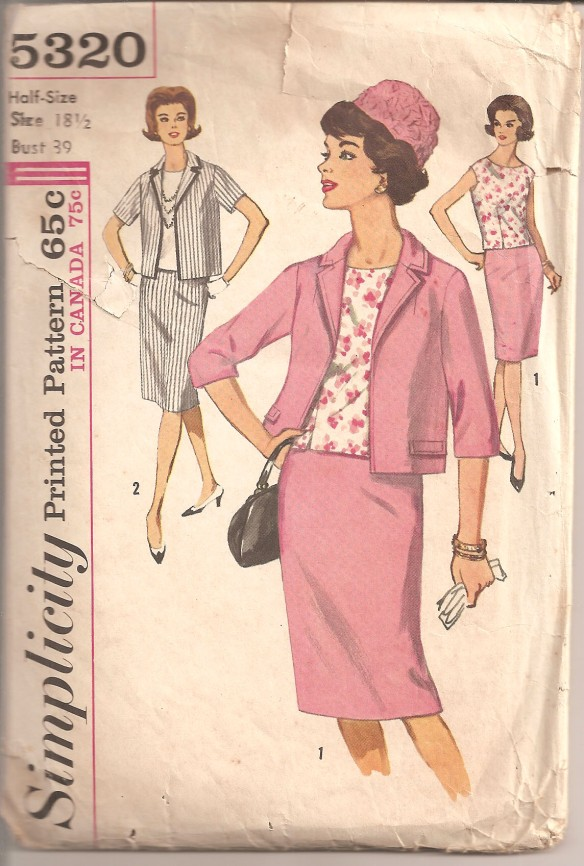 Sleeveless blouse is dart fitted with scooped neckline, back button closing. Lined jacket has front and back shoulder darts, notched collar, set-in sleeves. V. 1 jacket with below elbos length sleeves is detailed with flaps and top-stitching. V.2 which has short sleeves is trimmed with braid. Slim skirt is dart fitted with a side zipper closing, kick pleat and waistband.