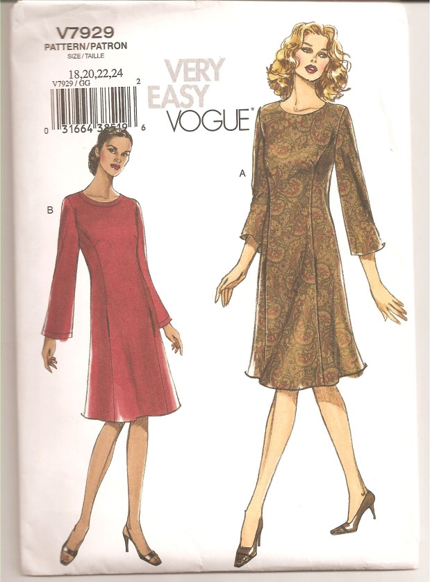 Misses Petite Dress Semi Fitted A line Dress below mid knee has preincess seams, side front pockets, back zipper and long or three-quarter length sleeves. B: Topstitching(Copyright - Vogue, 2004)
