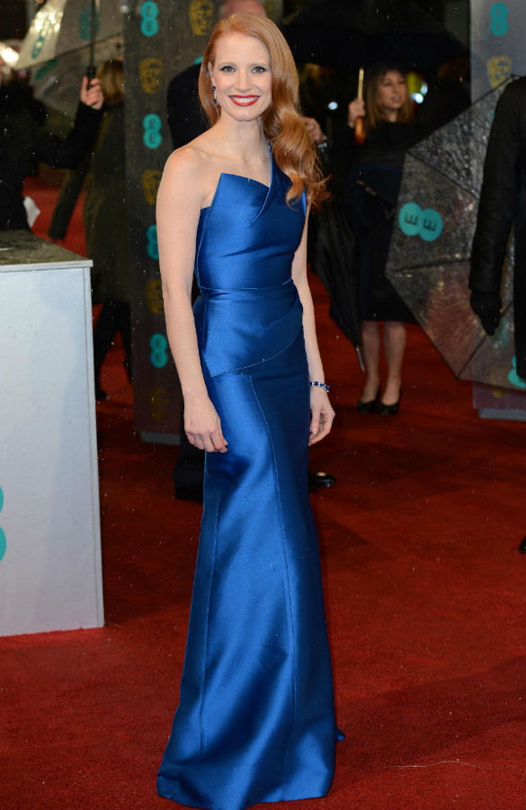 Jessica Chastain followed Marion Cotillard's lead and chose a stylish gown in a bright colour. This royal blue clashes with her flame red hair and lipstick perfectly, and the angular neckline makes a classic evening gown just a little bit edgy.