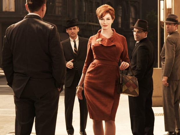 joan holloway mad men orange dress neck tie