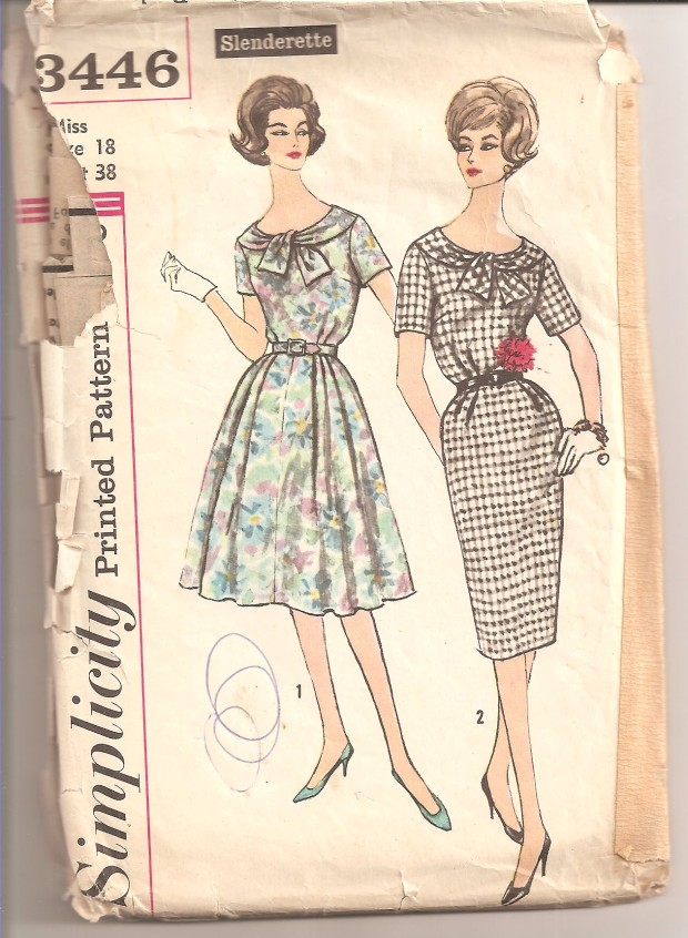 Misses' and Women's One-Piece Dress with Two Skirts: Dress has lowered round neckline, detailed in front with a tie trim and short set in sleeves. Belt is self fabric or purchased. V. 1 has very short sleeves and a 4 gore skirt with soft pleats at waistline. V. 2 short sleeves are longer than V. 1. Slim skirt has soft pleats at front waistline and back kick pleat (Copyright - Simplicity, 1960).