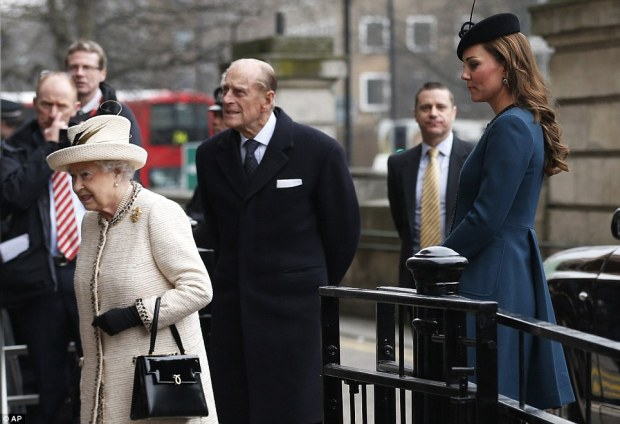 The Queen and the Duke of Edinburgh, with the Duchess of Cambridge.