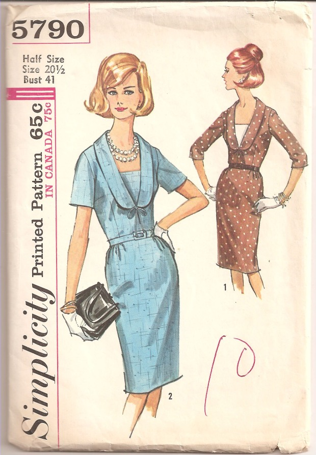 Simplicity 5790 1964© Misses' and Women's Half-Size One-Piece Dress with Detachable Vestee: Slim dress with V neckline, collar, bias bow and snap in vestee has side zipper closing, set-in sleeves and self fabric or purchased belt. The skirt with front gathers and back darts features a walking pleat in center back seam. V. 1 has below elbow length sleeves and contrast vestee. V. 2 has short sleeves. 10 pattern pieces. (Copyright - Simplicity Patterns New York, 1964)