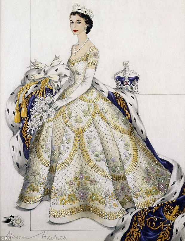 Norman Hartnell's original design for the Queen's coronation gown.