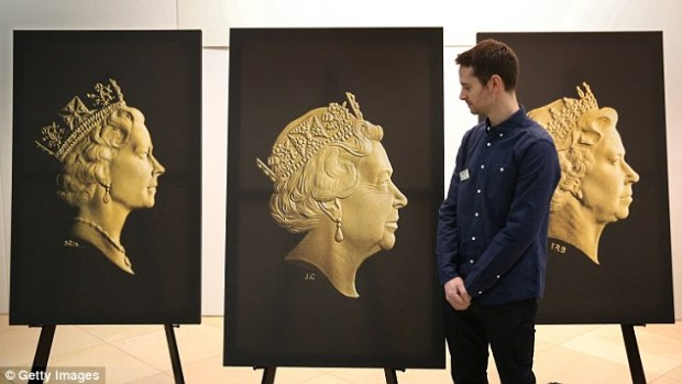 Jody Clarke showcases his design next to previous editions of the Queen's portrait.