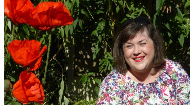 cropped portrait with poppies